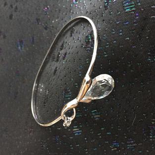 Armring i silver med Swarowski kristaller.1980talet