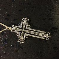 Kors i äkta silver.Finsk design .1971. 70mm högt.
